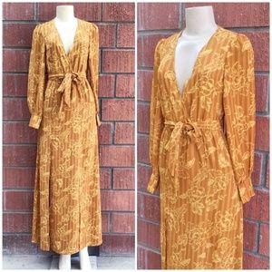 FOREVER 21 Caramel / Mustard Floral Maxi Dress